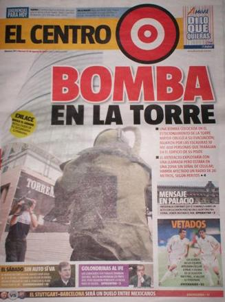 Diario comunicando la bomba en la Torre. ID17, Iván TMy©, 2008