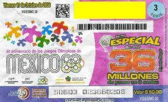 Billete de Lotería. ID479, Lotería Nacional. 2008
